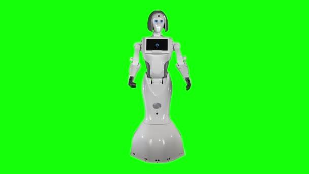 Robot bemutatja a mozgástáncot. Zöld vászon. Lassú mozgás.