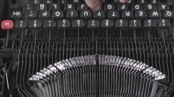 Old typewriter machine detail, typing on vintage typing machine