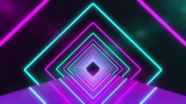 Futurisztikus neonalagút lila fényekkel. Absztrakt 3D animáció izzó neon fényes vonalak geometriai formák és tükörreflexió