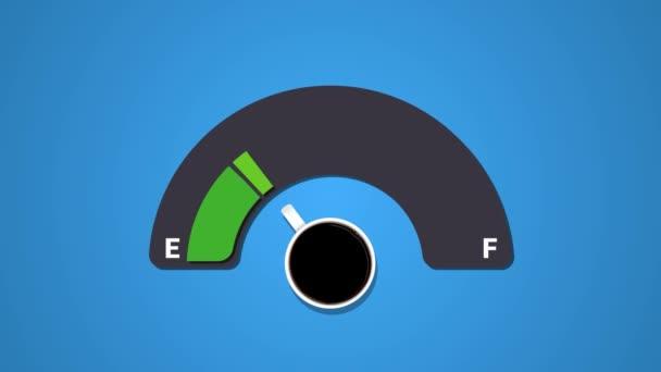 Animáció az üzemanyag indikátor, mutatja üzemanyag szintje csésze kávé kék háttér. Kávé kreatív ötlet háttér.