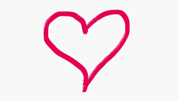 Kézzel rajzolt hurok animáció rózsaszín romantikus szív.