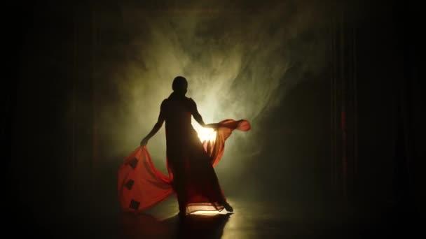 Silueta mladé tanečnice v červeném sárí. Indický lidový tanec. Natočeno v tmavém studiu s kouřem a neonovým osvětlením.
