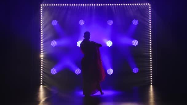 Silueta mladé tanečnice v červeném sárí. Indický lidový tanec. Natočeno v tmavém studiu s kouřem a modrým neonovým osvětlením. Zpomalený pohyb.