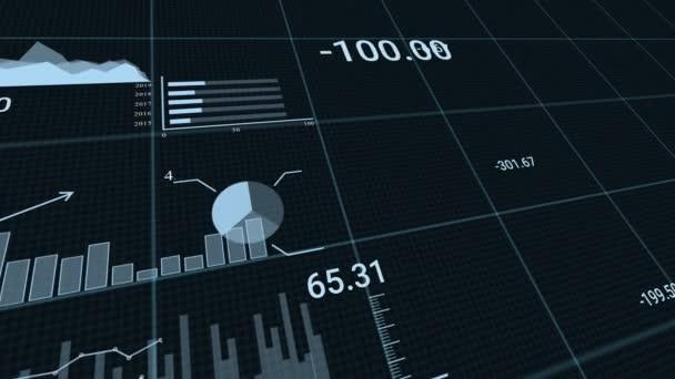 Animation von Grafiken auf schwarzem Hintergrund mit Börsenticker. Illustriert den Absturz des Marktes seit Beginn der covid-19-Pandemie.