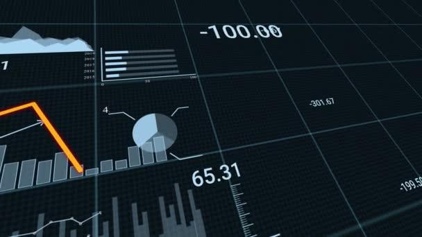 Finanzgeschäftsdiagramm mit Diagrammen und Aktienzahlen, die dynamisch Gewinne und Verluste im Laufe der Zeit zeigen. Zusammenbruch von Markt und Börse durch Covid-19-Coronavirus.