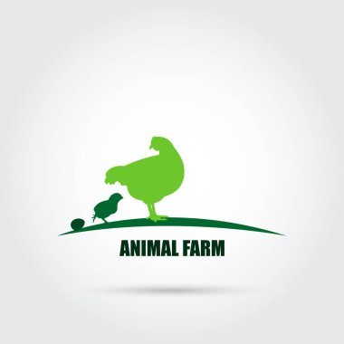 Farm animals vector icon in green tones. Chicken family. Poultry farm. Suitable for packing icons. Farm advertising. Vector illustration. icon