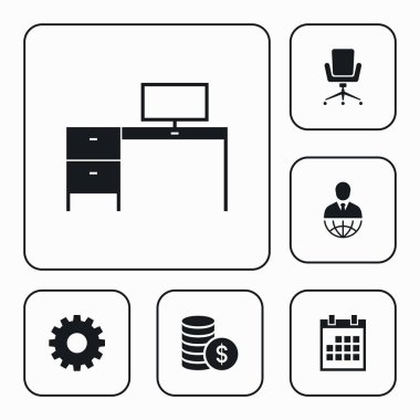 Vector set of business icons. Simple marketing elements illustration. Management symbols design from office collection. Can be used in web and mobile.