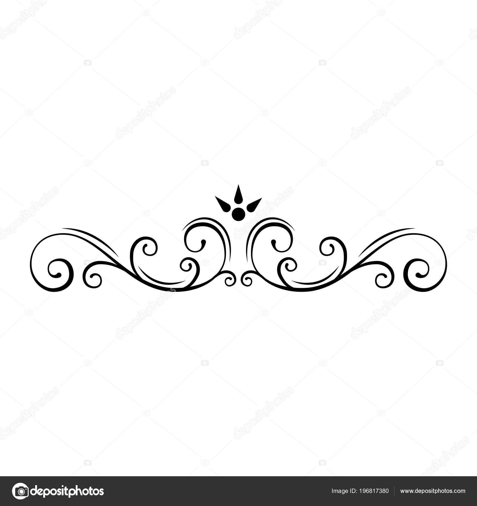 Callirgaphic flourish scroll design element. Wedding invitation, Greeting card, Save the date card. Vector illustration.
