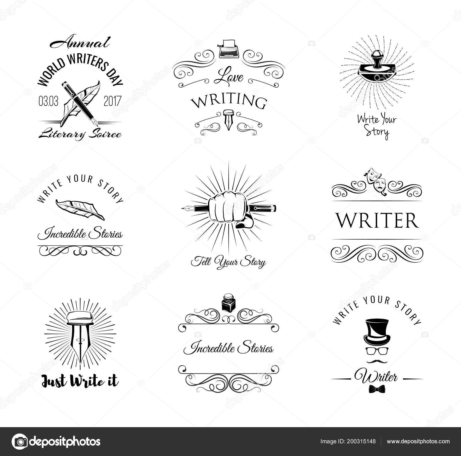 Writers labels set. World Writer Day logos. Paperweight, feather ...