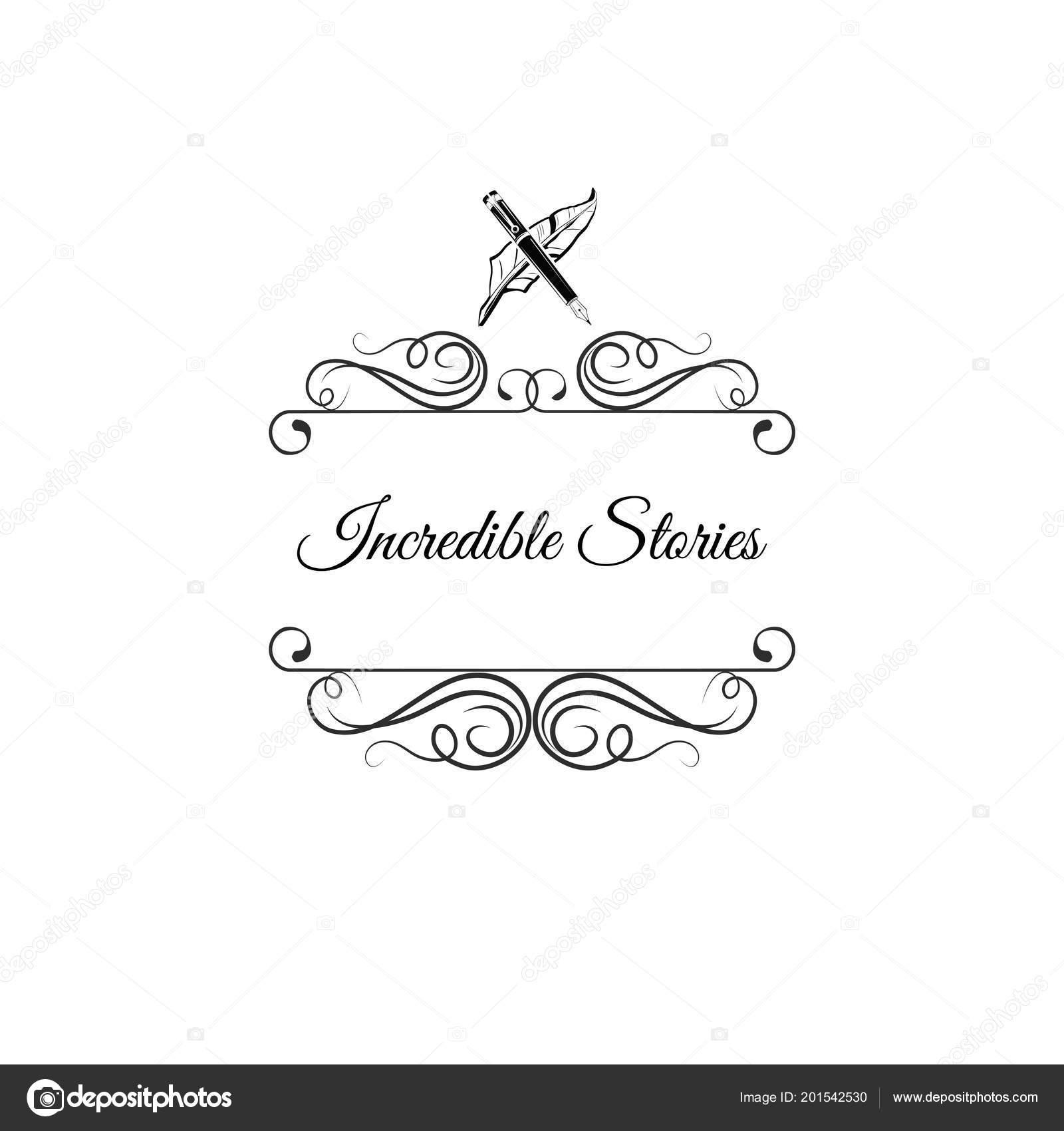 Feather ink pen icon. Writer logo. Swirls, decorative frame ...
