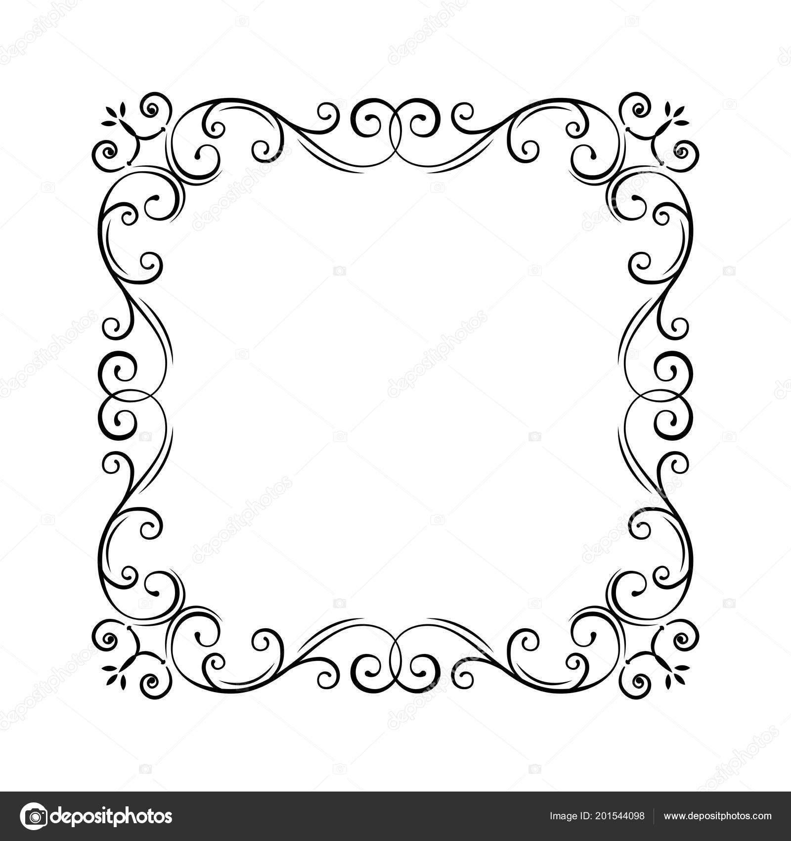 Flourish vintage frame filigree page border swirls curls flourish vintage frame filigree page border swirls curls flourish pattern wedding invitations greeting card certificates vector illustration stopboris Image collections