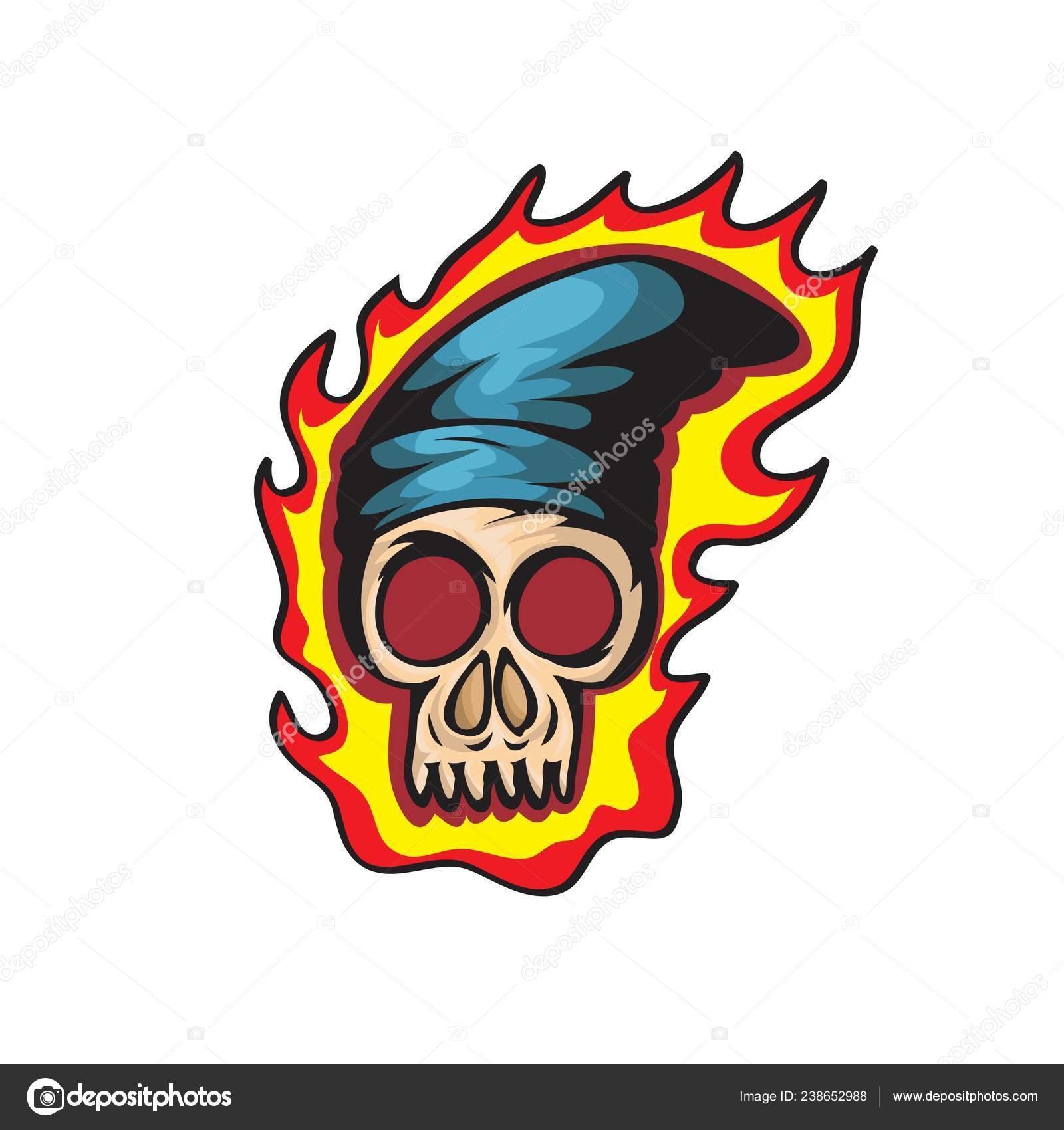 Cráneo Impresionante Salto Cadera Dibujo Para Camiseta Tarjeta