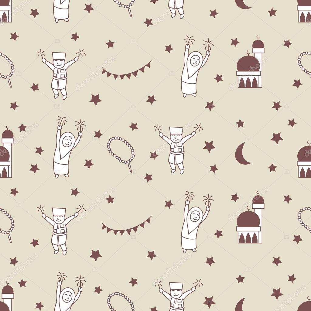 Selamat Hari Raya Meaning Eid Mubarak For Malaysia Indonesia Doodles Seamless Pattern Premium Vector In Adobe Illustrator Ai Ai Format Encapsulated Postscript Eps Eps Format