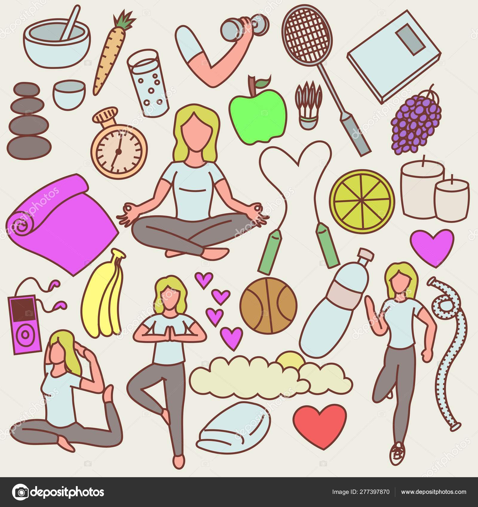 Yoga Healthy Lifestyle Drawings Art Stock Vector C Easyvectorartidea 277397870
