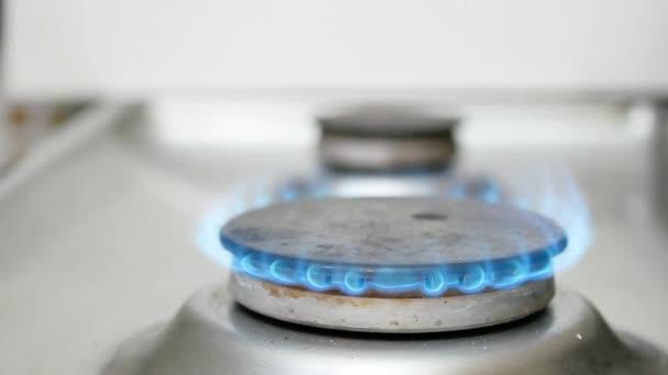 Blaue Flamme auf einem Küchenherd. Nahaufnahme makro-statischer Loopvideomaterial