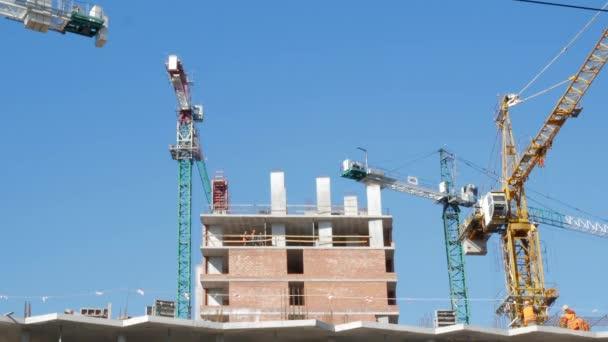 několik těžkých strojů průmyslové jeřáby, zdvihací zařízení rotující na staveništi. horní části budovy ve výstavbě viditelné jasné modré obloze na pozadí