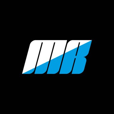 MR letter logo design on black background. MR creative initials letter logo concept. MR icon design. MR white and blue letter icon design on black background. M R