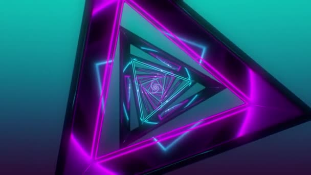 Neon tunnel triangle loop. 3d animation rendering neon colorfully wire. UHD 3840x2160.