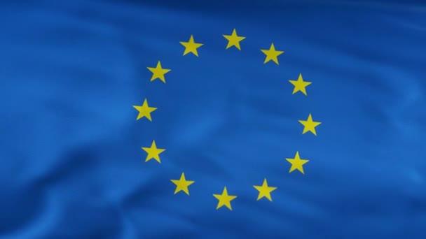 Euro flag waving on wind seamles loop 3d animation. 4k resolution.