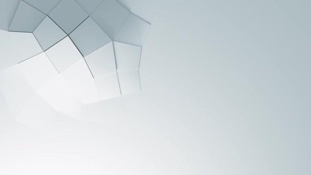 Abstraktní bílá geometrický povrch quad smyčka čistý minimální vzor, Animovaný 3D pozadí pro obchodní prezentaci. Měkké stíny a odraz. Papírová vlna v pohybu. Animace bezešvé smyčky.B 4k Uhd