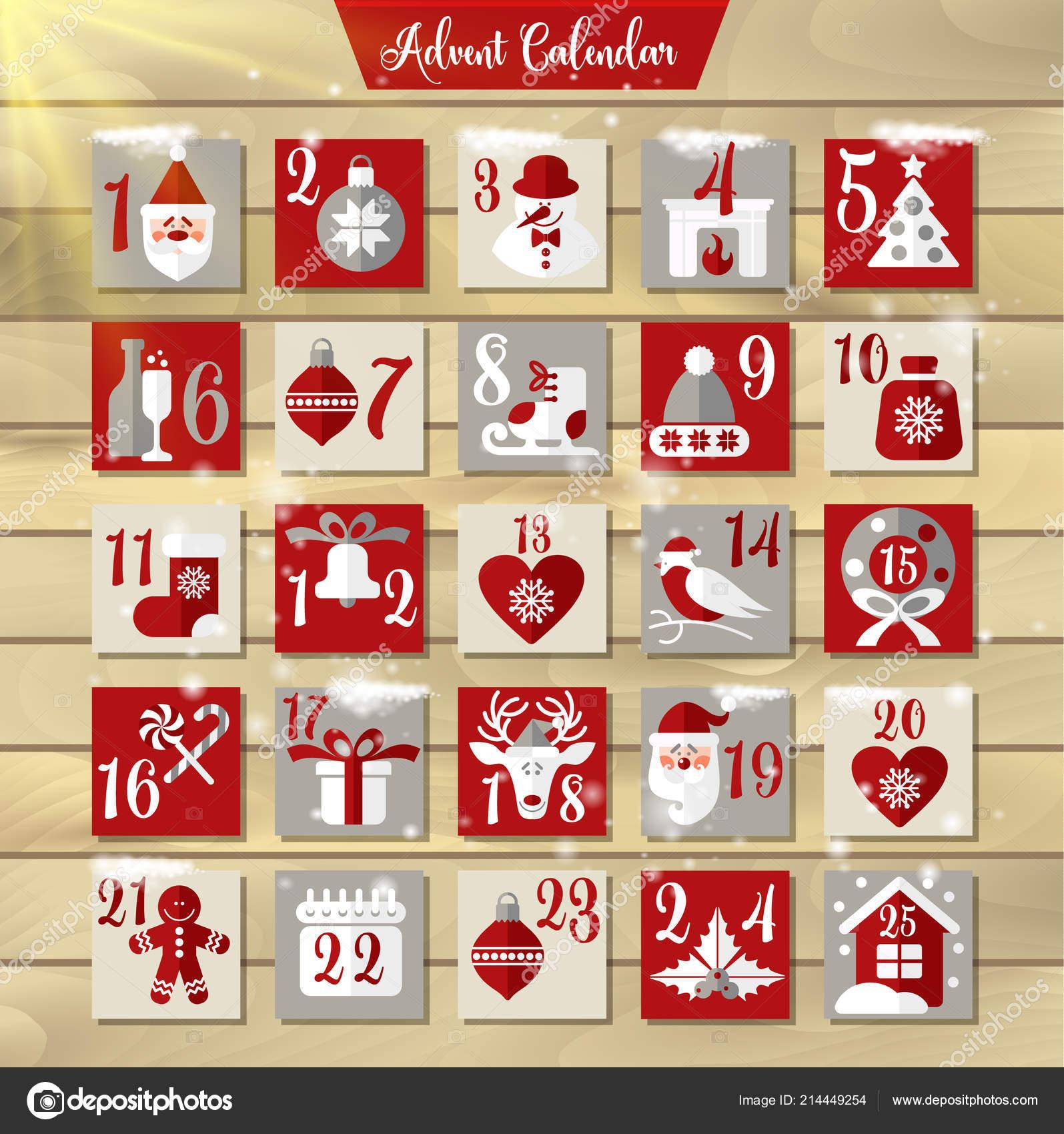 575c9d4b996a Рождественский календарь появления или плакат. Зимние праздники элементы  дизайна. Обратный отсчет календарь.– Векторная картинка
