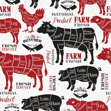Meat cuts. Diagrams for butcher shop. Animal silhouette. Vector illustration. Seamless pattern.