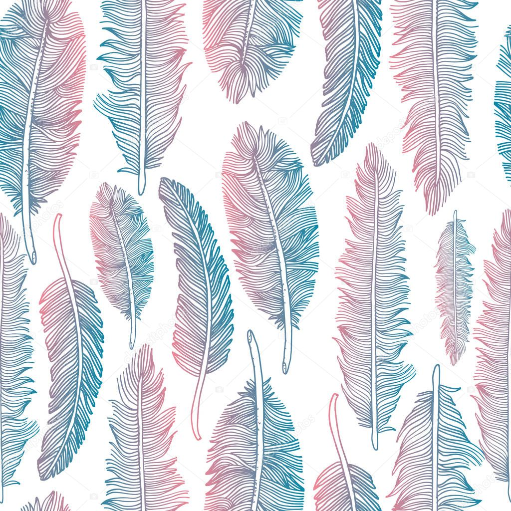 Feathers set illustration set on white background. clipart vector
