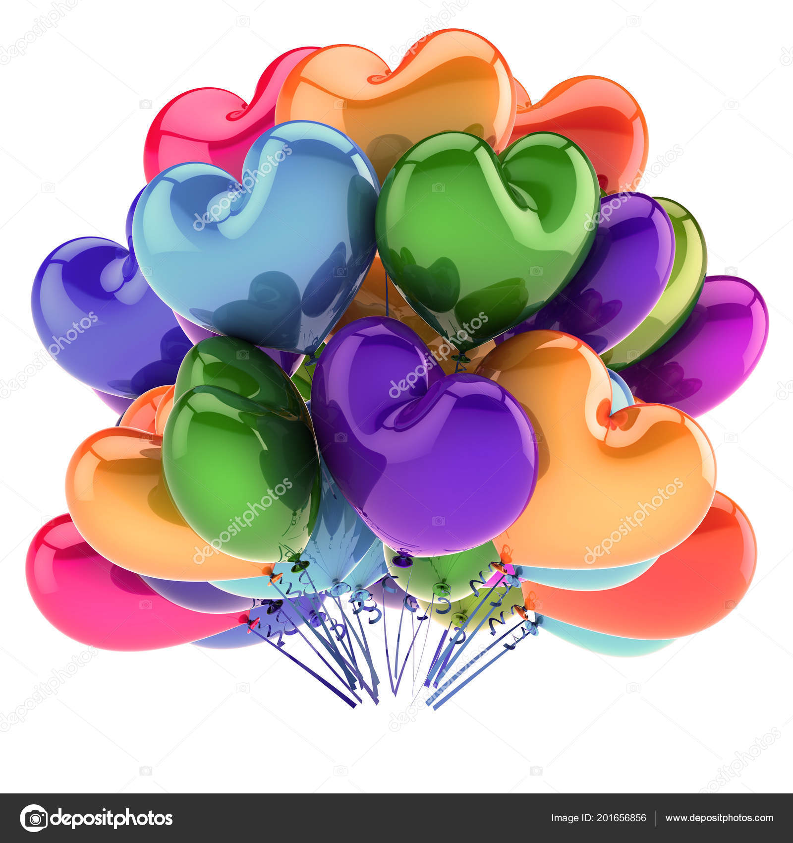 Party Balloons Heart Shaped Colorful Love Helium Balloon Bunch