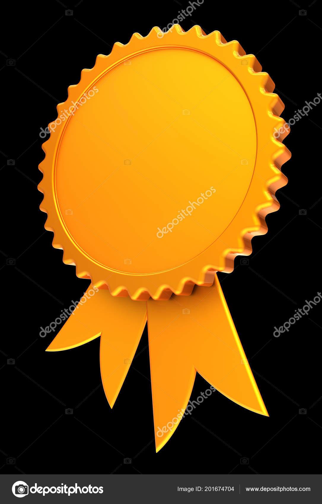 award ribbon golden blank reward medal rosette achievement best