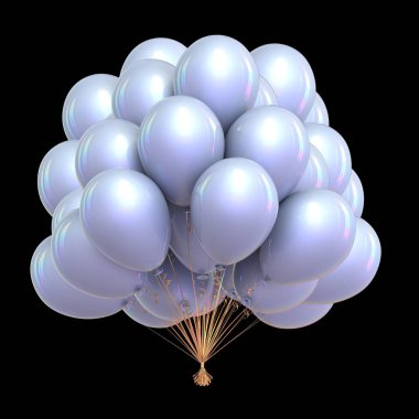 party balloons bunch white classic. carnival, holiday event decoration shiny. 3d illustration. isolated on black