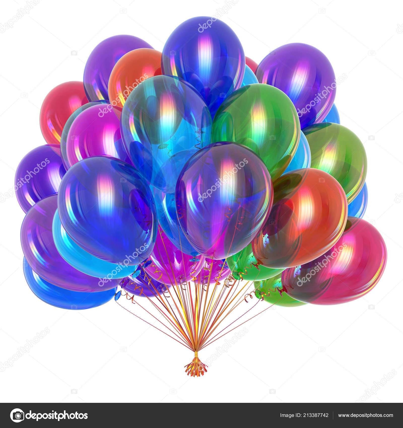 Cumpleaños Decoración Globos Helio Multicoloras Manojo Globo