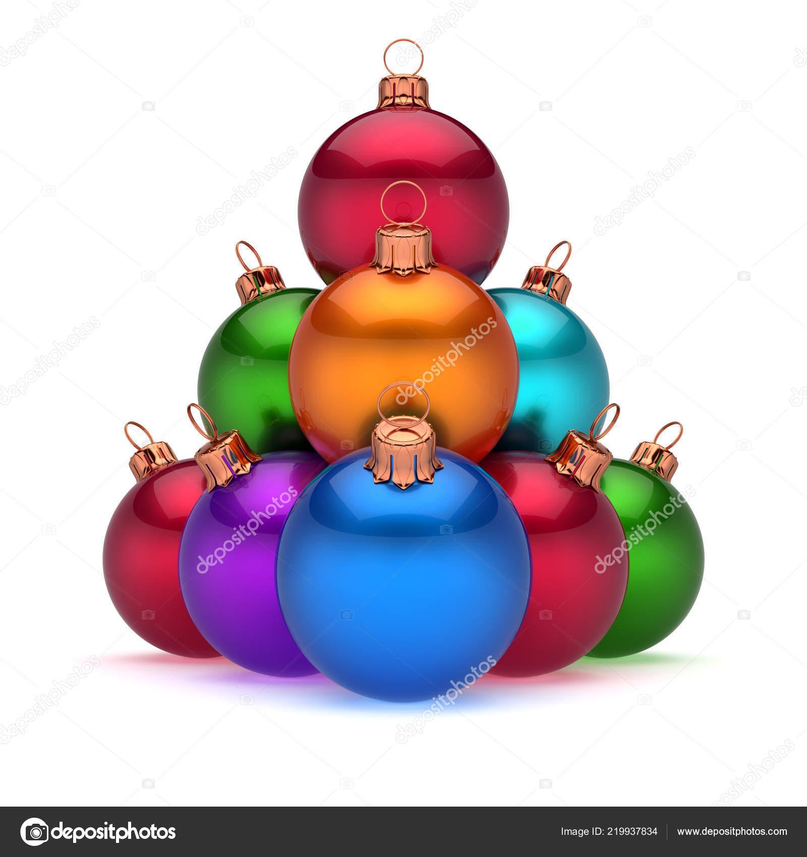 Colorful Christmas Balls.Colorful Christmas Balls Pyramid Arranged Shiny Happy New