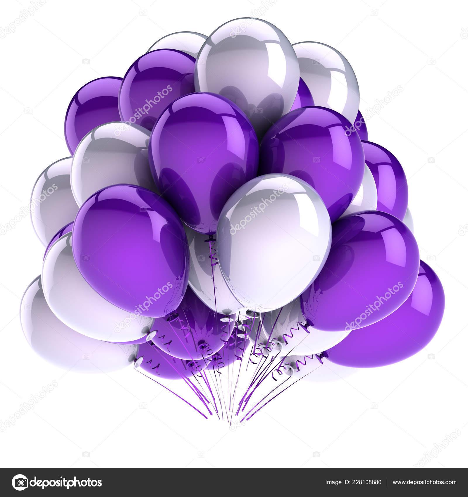 Balões Aniversário Bando Roxo Branco Azul Decoração Festa Linda