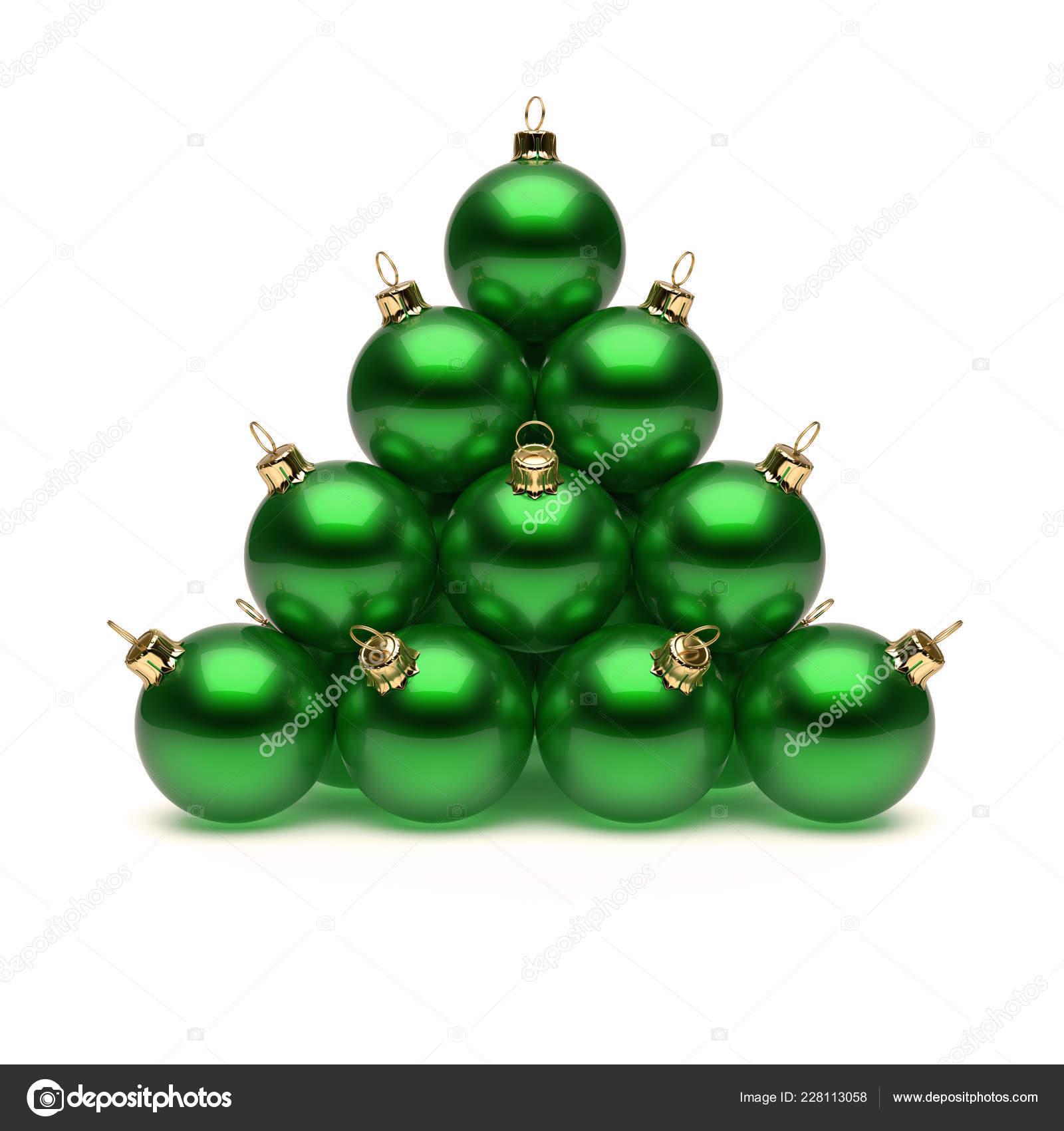 8bb45eb660f Pirámide Bolas Navidad Verdes Brillantes Adornos Del Día Año Nuevo — Foto  de Stock