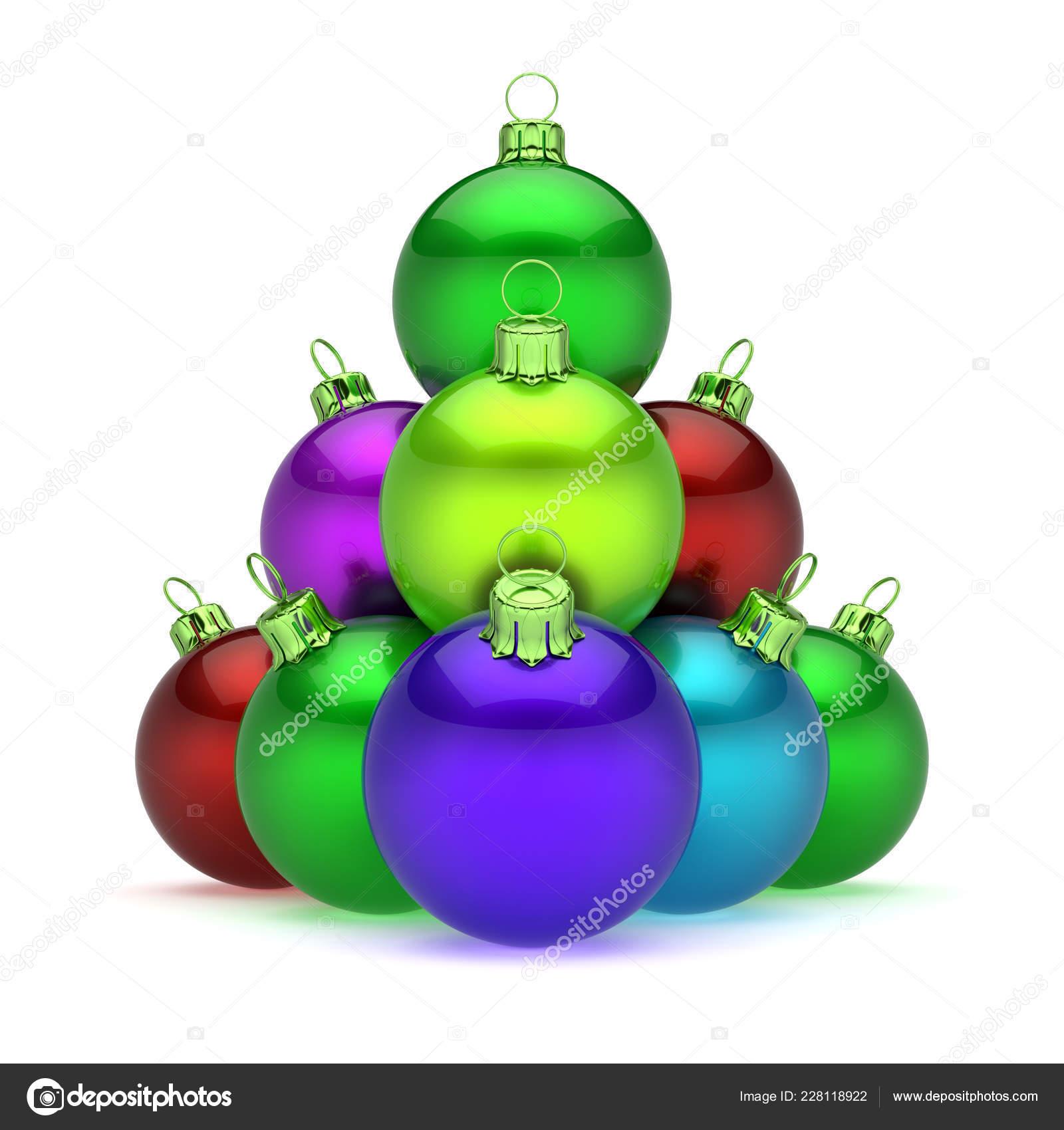 4f5610a642e Pirámide de bolas de Navidad arreglado brillante colorido. Feliz día de año  nuevo adornos decoración multicolor del grupo. Feliz plantilla de tarjeta  de ...