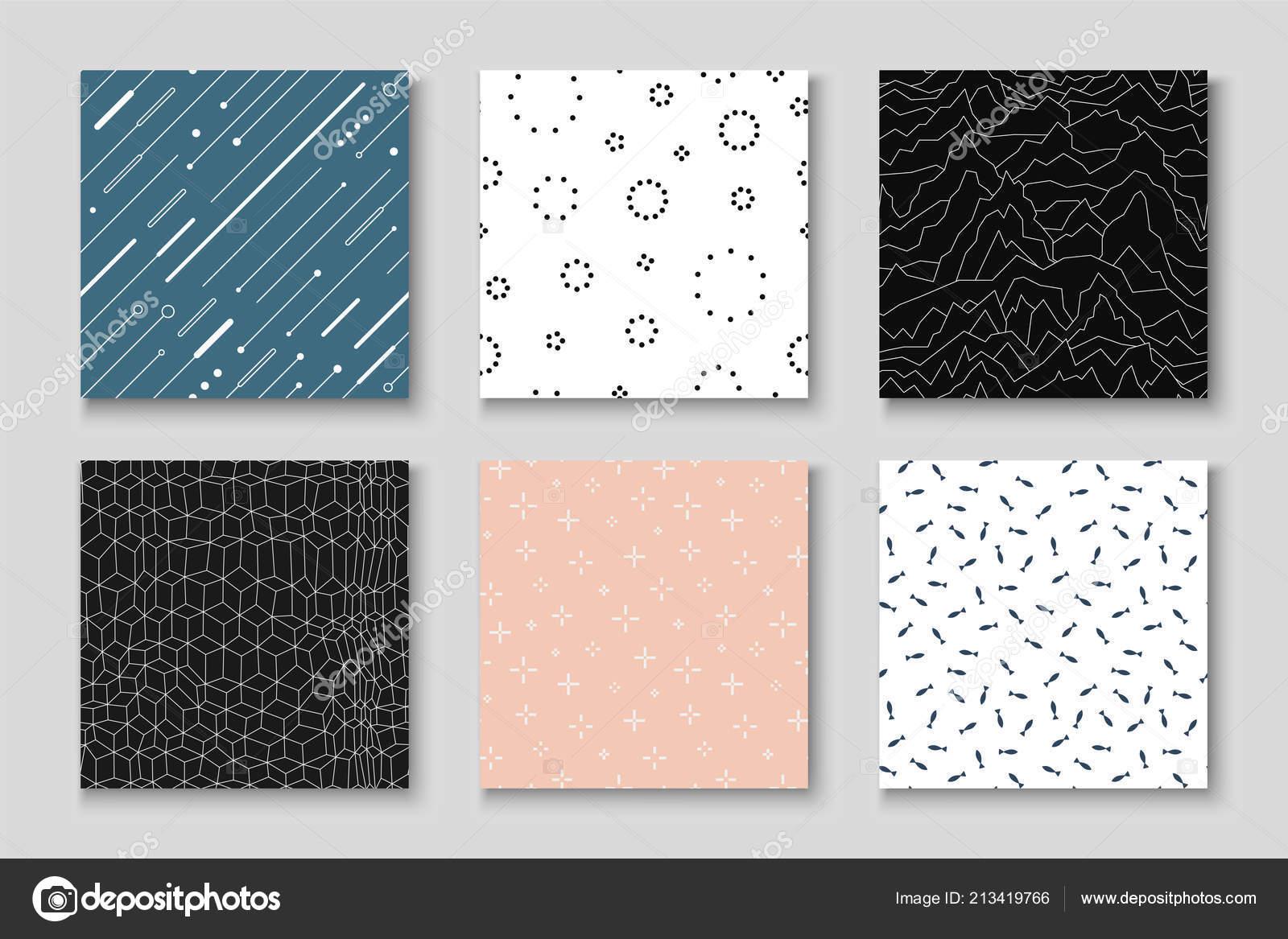 Conjunto de patrones creativos sin costuras - diseño minimalista ...