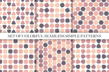 Collection of vector colorful seamless simple patterns.