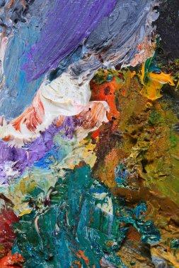 """Картина, постер, плакат, фотообои """"макрос Художник палитра, текстуры смешанные масляными красками в разные цвета и насыщенности студии"""", артикул 242628132"""