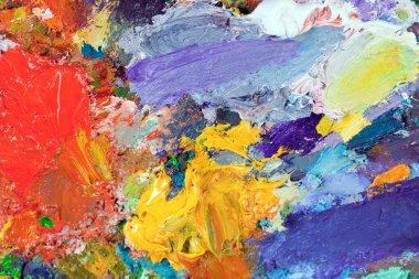 """Картина, постер, плакат, фотообои """"макро-палитра художника, текстурные смешанные масляные краски разных цветов и насыщенность студии картина цветы"""", артикул 403266708"""