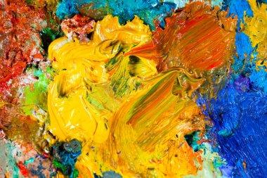 """Картина, постер, плакат, фотообои """"макро-палитра художника, текстурные смешанные масляные краски разных цветов и насыщенность студии абстракция все"""", артикул 403269136"""