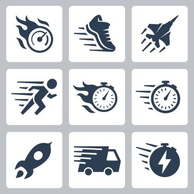 Fast Speed and Quickness Related Vector Icon Set icon