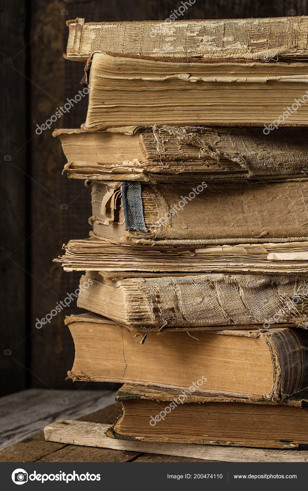 Old Vintage Books Wooden Desk Pile Antique Yellowed Stock Photo