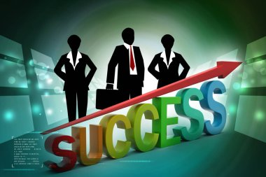 Business success graph in color background