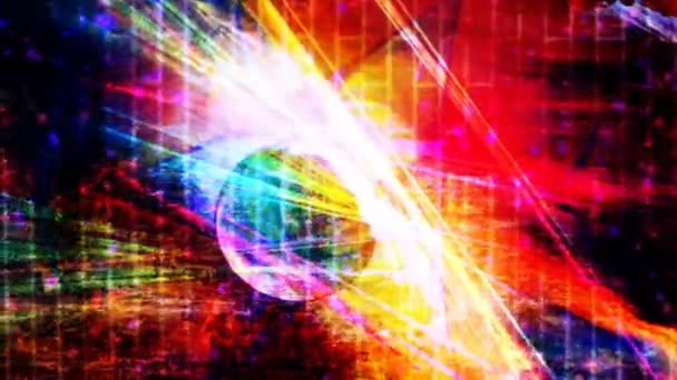 Rainbow Sphere Reflecting Light Beams with Falling Purple Particles - 4K Seamless Loop Motion Background Animation