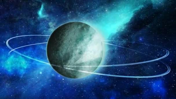 Lélegzetelállító Double Ring Planet a világűrben csillagködben - 4k zökkenőmentes hurok mozgás háttér animáció