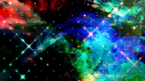 Colorful Rotating Pattern in Darkness with Blue Shapes - 4K Seamless Loop Motion Background Animation