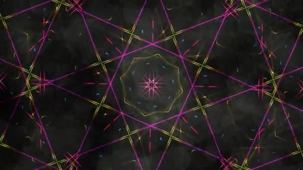 Geometric Kaleidoscope with Rainbow Light Rays and Dark Backdrop - 4K Seamless Loop Motion Background Animation