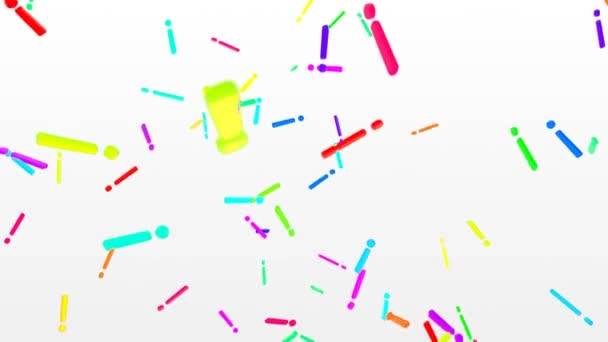 3D Exclamation Points Falling in Slow Motion Rainbow Colors White Backdrop - 4K Seamless Loop Motion Background Animation
