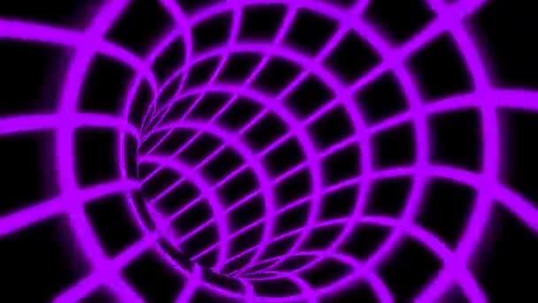 Fly through Retro Rainbow Neon Tunnel Grid zářící jasné barevné světlo - 4k bezešvé smyčka pohybu pozadí animace