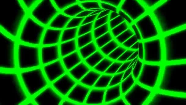 Fliegen Sie innerhalb des grünen digitalen Tunnelnetzes in einem verbundenen sicheren Computernetzwerk - 4k nahtlose Schleifenbewegung Hintergrundanimation